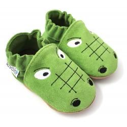 Chaussons cuir souple Crocodile