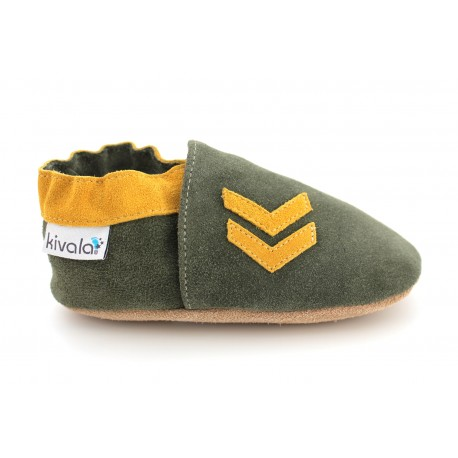 Chaussons cuir souple Army