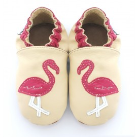 Chaussons cuir souple Beiges Flamant Rose