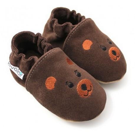 chaussons en cuir souple ours