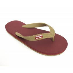Tongs latex vegetal bordeaux camel