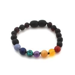Bracelet Ambre noir Pierres semi-précieuses