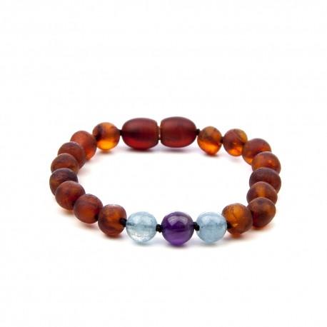 bracelet bébé ambre mat pierres mauve
