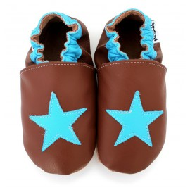Chaussons Cuir Souple Etoile Turquoise
