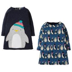 Robe coton bio Réversible Pingouins