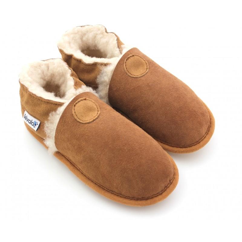 6e875469cb81a chaussons en cuir suède fourrés laine naturelle
