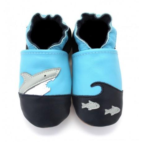chaussons en cuir souple croc requin
