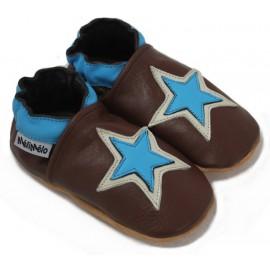 chaussons en cuir souple étoile bleu