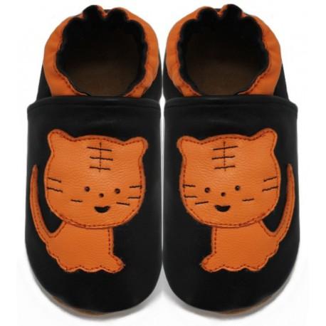 chaussons en cuir souple tigre