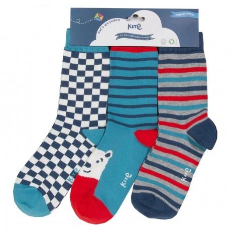Lot 3 paires chaussettes coton bio Ours