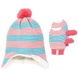 Bonnet + Moufles coton bio Rose