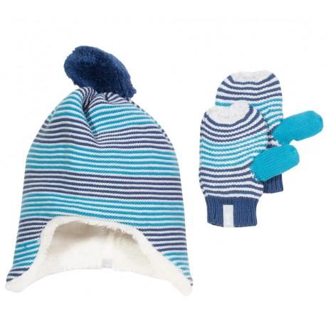 Bonnet + Moufles coton bio Bleu