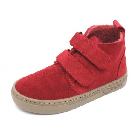 Boots laine cuir rouge