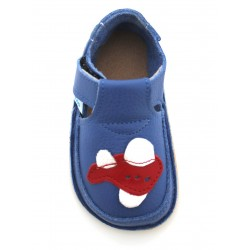 Chaussures souples cuir bleu Avion rouge 19