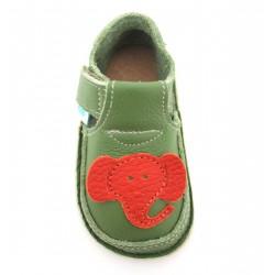 Chaussures souples cuir vert Eléphant orange 19