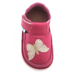 Chaussures souples cuir fuchsia Papillon