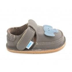 Chaussures souples cuir gris Eléphant ciel