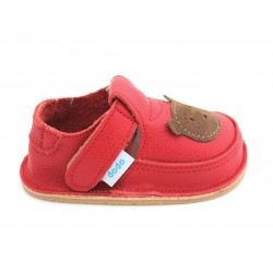 Chaussures souples cuir rouge Ours brun