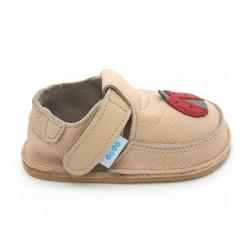 Chaussures souples cuir beige Coccinelle rouge