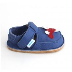 Chaussures souples cuir bleu Avion rouge