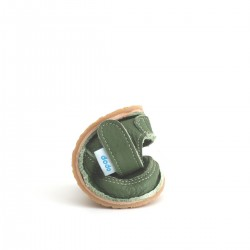 Chaussures souples cuir vert Eléphant orange