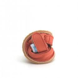 Chaussures souples cuir corail fleur or