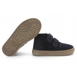 Boots laine cuir marine