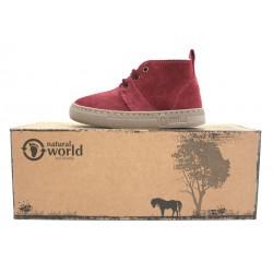 Boots laine cuir bordeaux