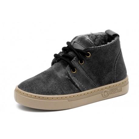 Boots laine cuir Noir