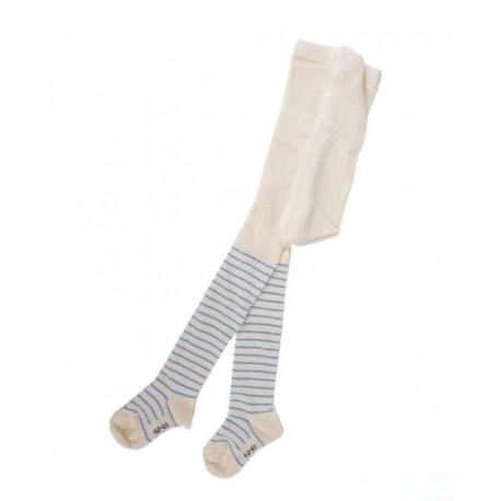 Collants coton bio Rayés écru et bleu