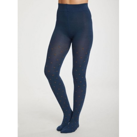 Collants bambou Bleu Pétrol Pois