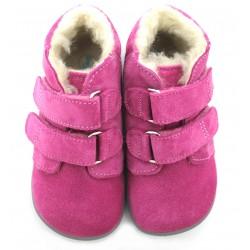 Boots fourrées rose gris