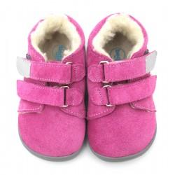 Boots fourrées bébé rose gris