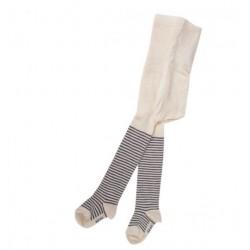 Collants coton bleu gris-écru