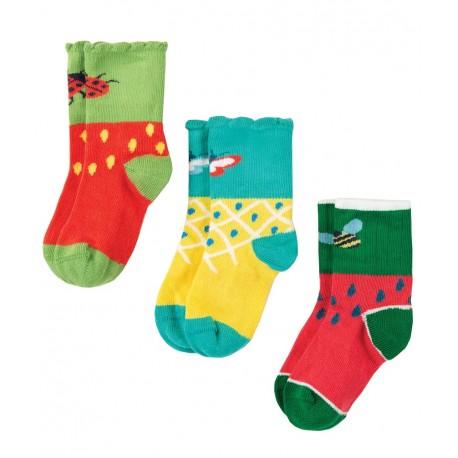 Lot 3 paires chaussettes coton bio Fruits
