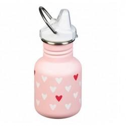 Gourde Inox embout bec rose coeur 355 ml