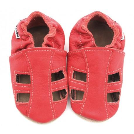Chaussons-Sandales cuir souple rouge