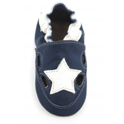 Chaussons-Sandales cuir Marine Etoile Blanche