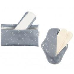 Lot 2 serviettes intimes coton bio + Pochette