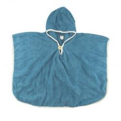 Poncho de bain coton bio Bleu