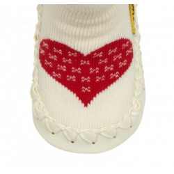 Chaussons Chaussettes blanc Coeur Rouge