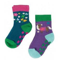 Lot 2 paires chaussettes coton bio Anti-dérapantes Grippy