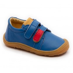 Chaussures souples cuir bleu scratch rouge