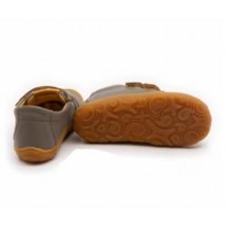 Chaussures souples cuir gris scratch orange
