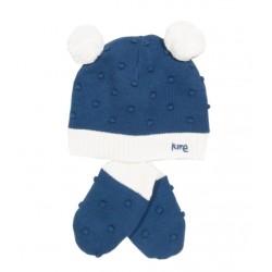 Bonnet & Moufles coton bio Pompon