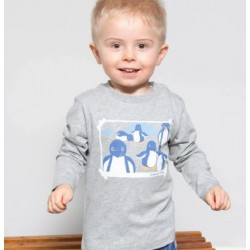 Tee-shirt coton bio gris chiné Pingouins