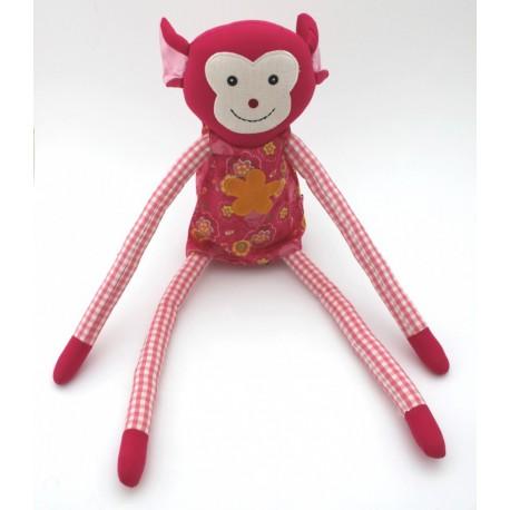 Doudou singe rose
