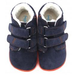 Boots fourrées marine orange