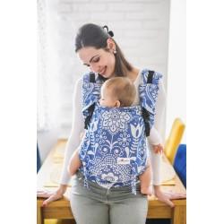 Porte bébé ergonomique en coton bio Folk Blue