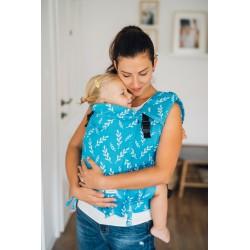 Porte bébé ergonomique en coton bio Leaves Azure